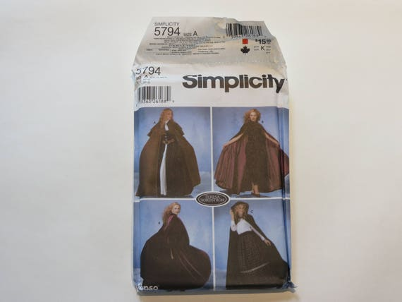 Simplicity Ladies Sewing Pattern 5794 Full Length Capes Simplicity-5794-A