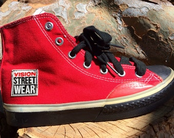 a06170ce4d9 Vintage Vision Street Wear skate shoe high top single right shoe size 4 1 2  1980 s red
