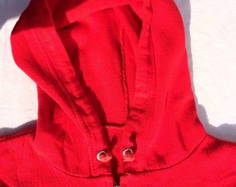 Sweatshirt Hoody Jacket by Kings Road Sears Thermal Red Mens size L Zip Front 1960's 1970's
