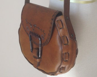 Vintage Leather Saddlebag Purse