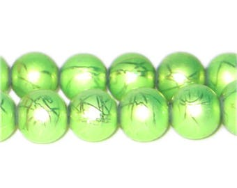 12mm Drizzled Apple Green Bead, approx.18 bead