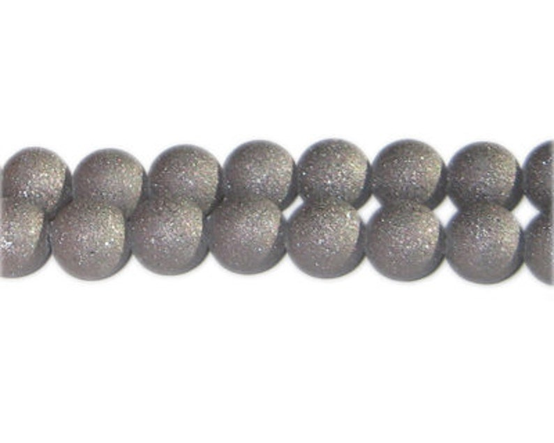10mm Charcoal Druzy-Style Electroplated Glass Bead approx 24 beads