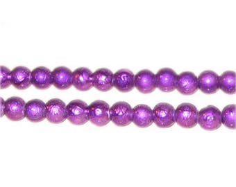 6mm Drizzled Violet Glass Bead, approx. 72 beads