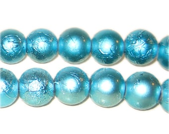12mm Drizzled Turquoise Bead, approx.18 bead