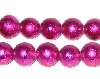 12mm Drizzled Fuchsia Glass Bead,approx. 18 beads