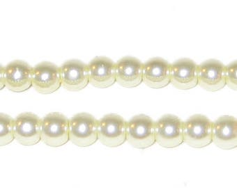 6mm Round Cream Glass Pearl Bead