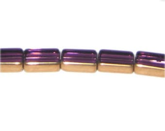 14 x 10mm Purple Vintage-Style Rectangle Glass Bead, approx. 10 beads