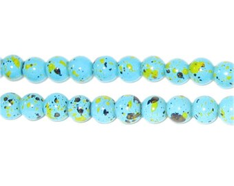 6mm Marble-Style Turquoise Spot Bead, approx. 72 beads