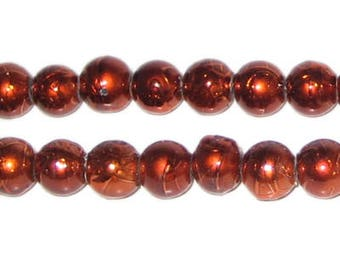 8mm Drizzled Bronze Glass Bead, approx. 52 beads