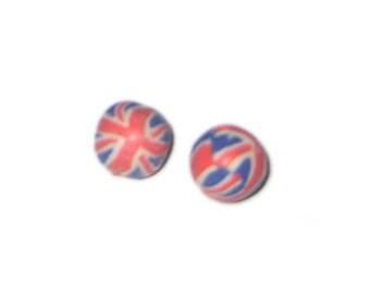 12mm Union Jack Polymer Clay Bead, 10 beads