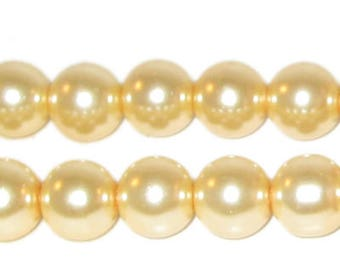 "10mm Round Cream Glass Pearl Bead, 8"" string, approx. 22 beads"