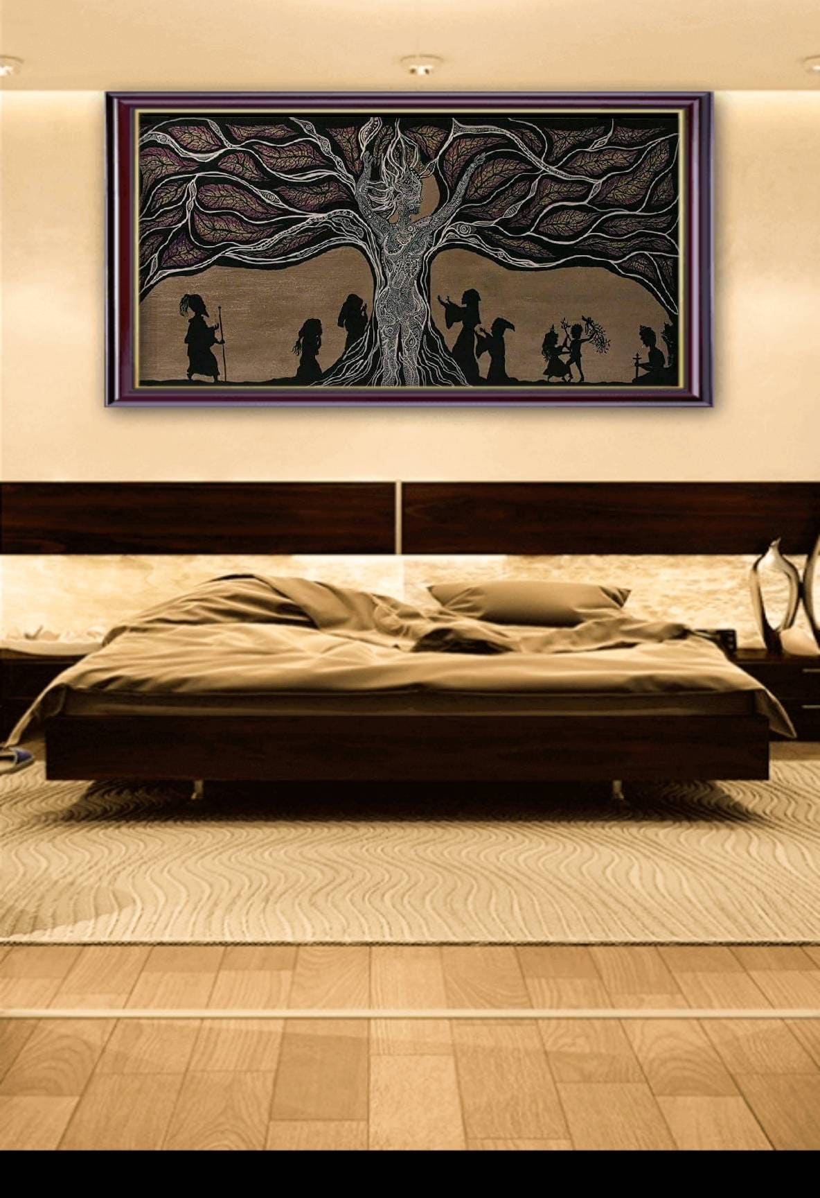 Painting on canvas. Unique painting. Art. Silhouette. Modern