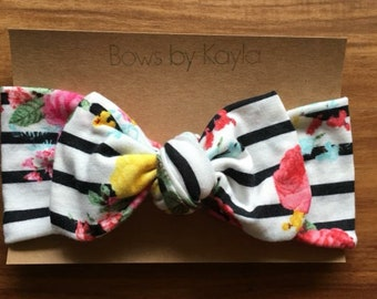 Black and white striped floral headband