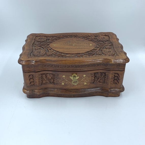 Carved Rosewood Jewelry Box | Solid Wood Carved Je