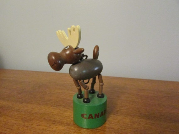 Vintage Wooden Push Button Thumb Collapsible Moose Canada Toy Etsy