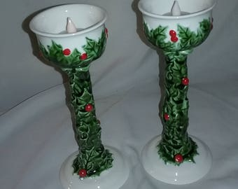 Vintage Tealight candle holders wrapped in holly,Vintage ceramic holly tealight candle holders, 1826 marked on bottom