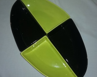 Vintage Miramar pottery of California snack trays,Lime green and black snack trays,California pottery.