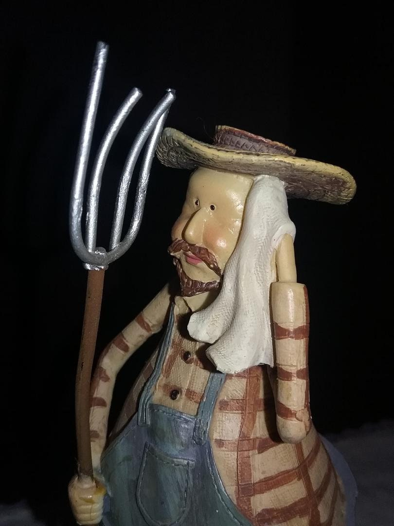a6dcc5fc28751 Vintage working farmer figurine with pitchfork. Hard working farmer statue  in bib overalls