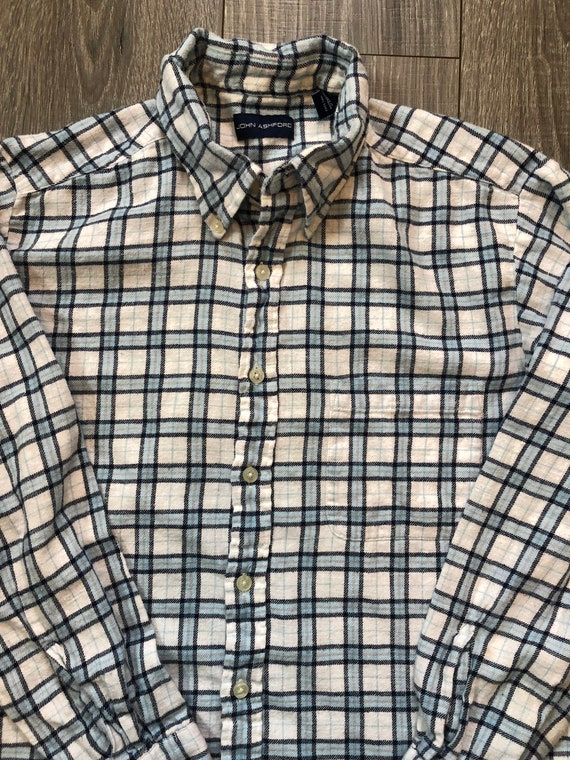 Vintage Inspired Blue and White Flannel Shirt, Me… - image 3