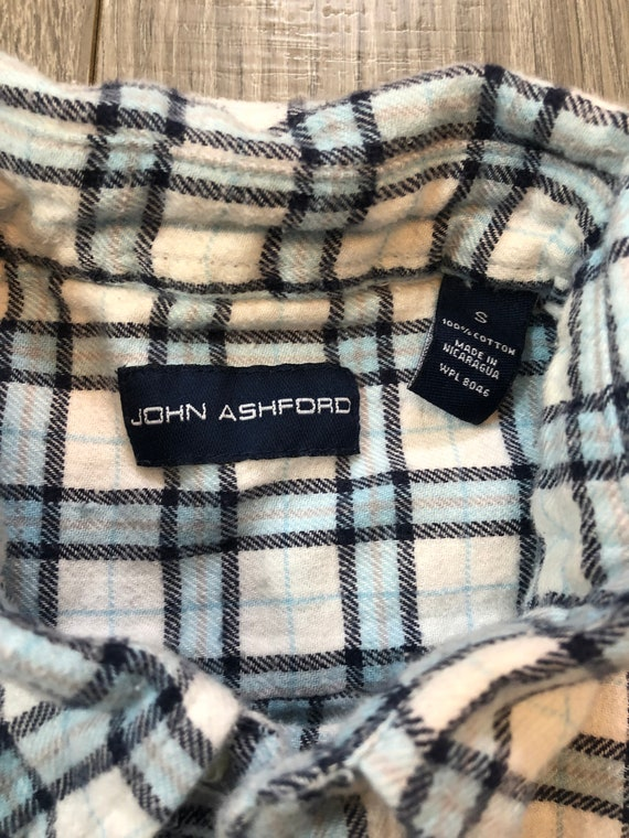 Vintage Inspired Blue and White Flannel Shirt, Me… - image 6