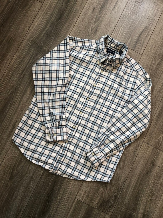 Vintage Inspired Blue and White Flannel Shirt, Me… - image 2