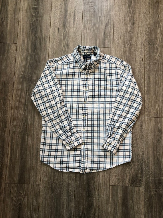 Vintage Inspired Blue and White Flannel Shirt, Me… - image 1