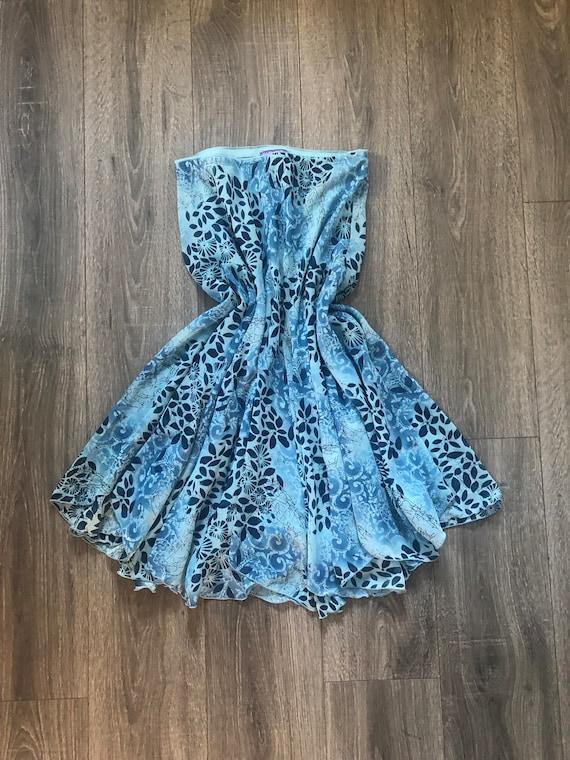 Blue Funky Printed 90's/y2k Skirt, Early 2000's Vi
