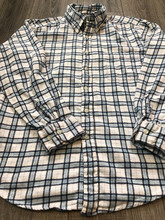 Vintage Inspired Blue and White Flannel Shirt, Me… - image 5