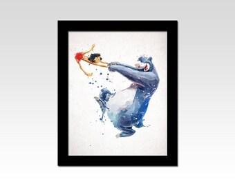 The Jungle Book inspired Mowgli and Baloo dancing watercolour effect print