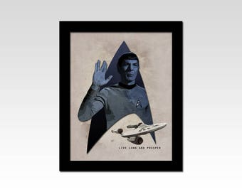 "Star Trek The Original Series Mr Spock ""Live Long and Prosper"" vintage style print"