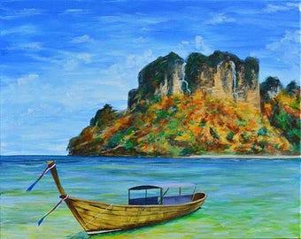 Original Seascape Painting Canvas, Nature Acrylic Painting, Sailing Painting, Realistic Seascape Painting, Peaceful Shore, Lotus With Love