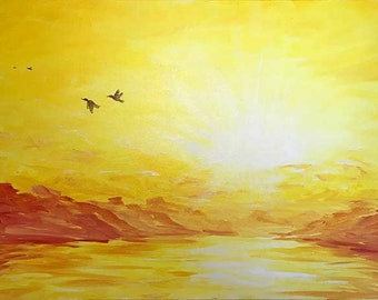 Original Fly Away Sunset Painting Stretched Canvas, Housewarming Gift, Memory Painting, Sunset Art, Seascape Painting, Birds Fly Away Art