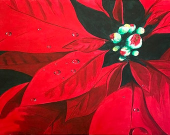 Original Poinsettia Painting Acrylic Stretched Canvas, Christmas Painting, Realistic Poinsettia Wall Art, Holiday Housewarming Plant Canvas