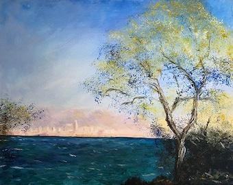 Original Village By The Sea Seascape Painting Canvas, Original Impressionism Fine Art, Nature Acrylic Painting, Realistic Seascape Painting