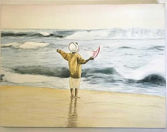 Original First Voyage Painting Stretched Canvas, Housewarming Gift, Realistic Boy With Boat On Shore Art, Child Painting, Memory Painting