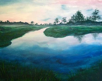 Original Morning On The Marsh Painting Stretched Canvas, Housewarming Gift, Savannah River Painting, Marsh Art, Seascape Painting, Nautical