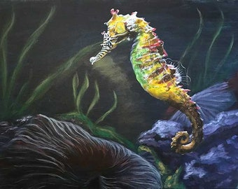 Original Realistic Seahorse Painting Stretched Canvas, Marine Painting, Marine Life Art, Oceanscape Acrylic Fine Art, Housewarming Gifts