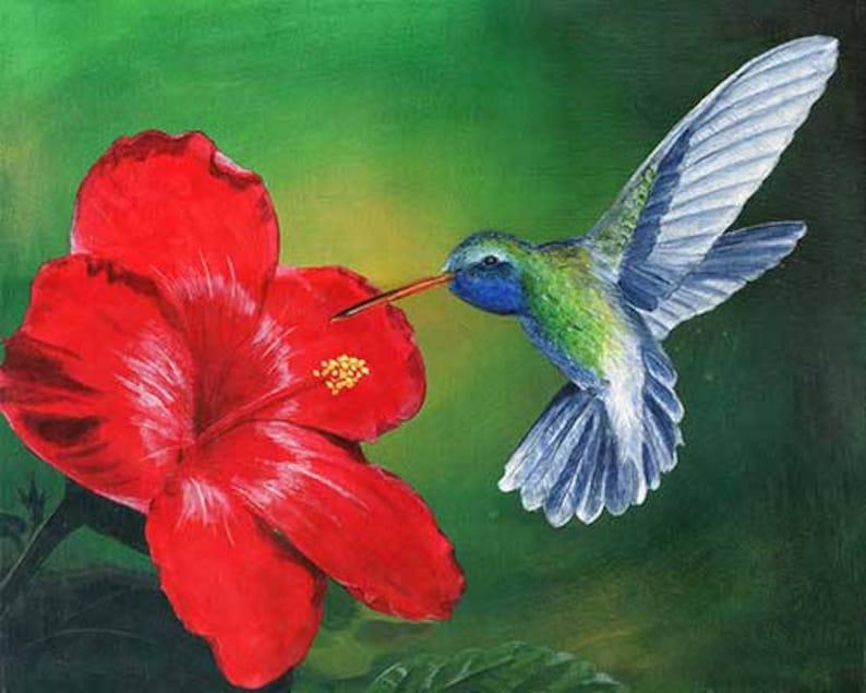 Original Hummingbird Painting Stretched Canvas, Spiritual Nature Painting,  Realistic Bird Flower Art, Hummingbird Hibiscus Acrylic Fine Art