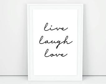 Live laugh love PRINTABLE wall art, Inspirational printable quotes, Scandinavian print, Positive quotes wall print, Wall decor