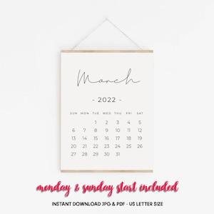 Calendrier Tva 2022 Janvier 2022 Calendrier PRINTABLE Calendrier grossesse | Etsy