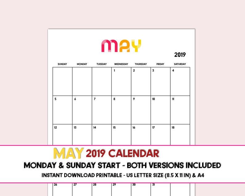 graphic relating to May Printable Calendar identify Could possibly 2019 PRINTABLE calendar, May well calendar 2019, Downloadable Could possibly 2019 calendar, Electronic calendar