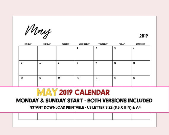 May 2019 calendar PRINTABLE, Calendar May 2019, Instant download printable  calendar, Monthly planner