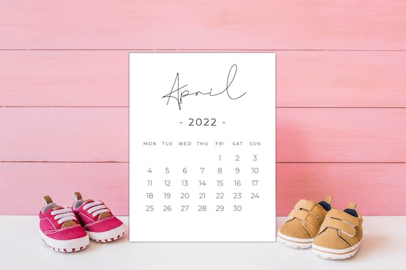 Calendrier Mcdo Avril 2022 April 2022 PRINTABLE calendar Pregnancy calendar digital | Etsy