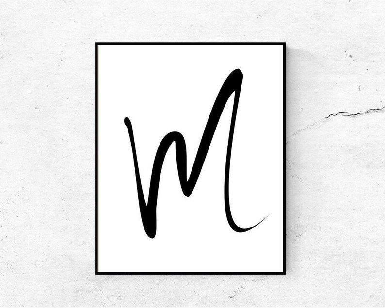 photo about Letter M Printable named Letter M printable initially, Nursery wall artwork letter printable, Very first print, Printable monogram M, Electronic down load letter poster