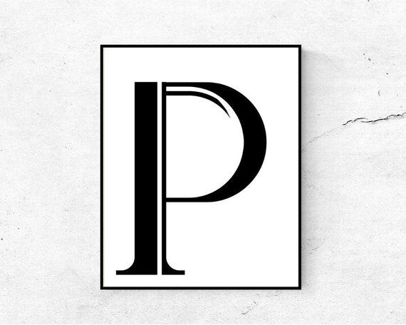 photograph regarding Letter P Printable referred to as Letter P wall artwork PRINTABLE, Letter poster, Letter print, Printable letters, Monogram print
