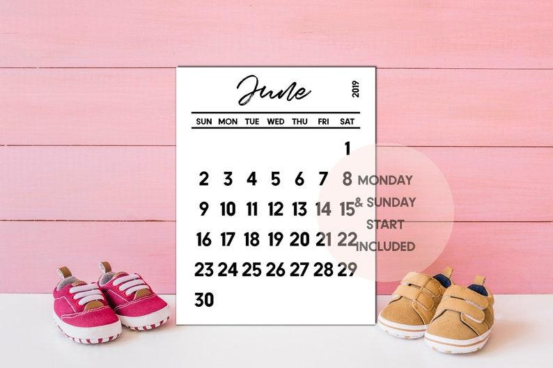 June 2019 calendar PRINTABLE, June calendar, Pregnancy calendar, June 2019  baby announcement