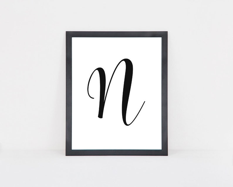 image regarding Letter N Printable known as Letter N printable to start with, Nursery wall artwork letter printable, To start with print, Printable monogram N, Electronic down load letter poster