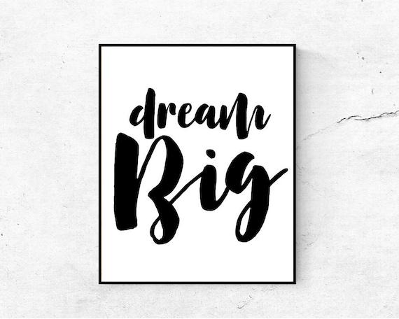 Rêver Grand Imprimable Citation Dream Big Print Décor De Salle De Jeux Affiche De Motivation Pépinière Imprime