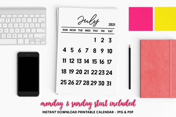 Luglio 2021 calendario PRINTABLE calendario di luglio | Etsy