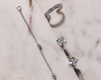 Ear Cuff Ear Cuff Chain Silver Earrings Ear Cuffs No Piercing Cartilage Chain Earrings Dainty Earrings Minimalist Earrings Chain Earrings